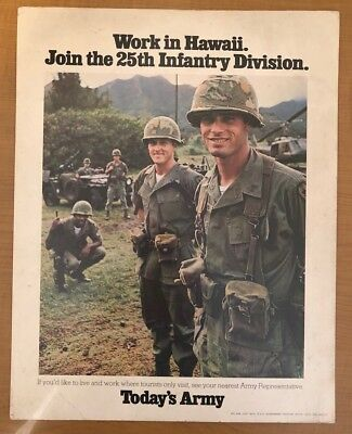 Work in Hawaii Army Recruiting Poster 1974 Vietnam Era