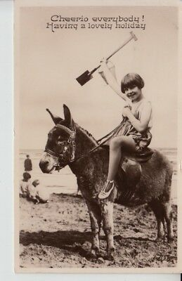 D439. Donkey and Child Rider at the Beach 1928