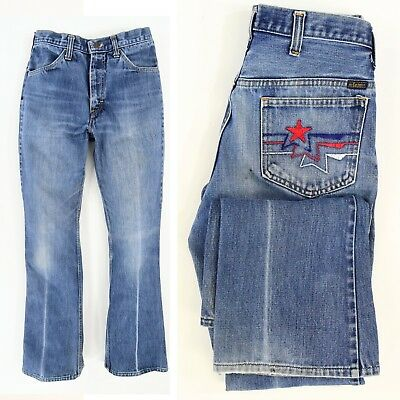1970's Vintage Women's Mr. Leggs High Waist Jeans + Stone Washed Embroidered 8 M