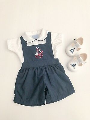 Traditional Spanish Style Baby Boys Nautical Sailor Dungarees in Navy