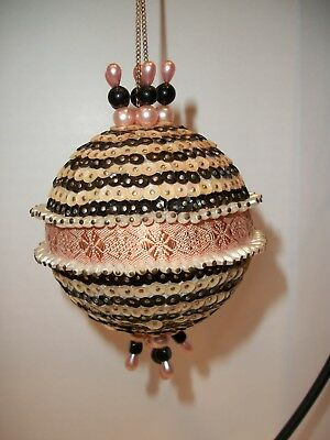 Vintage Hand Crafted Heavily Sequined Jeweled Pink & Black Christmas Ornament