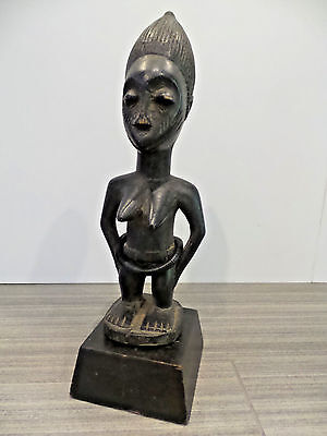 """13.25"""" Tall Congo Statue African Handcarved Wooden Stand Trade Beads Baule Aruba"""