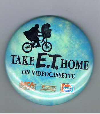 "Vintage 1980s ET Pepsi 2.25"" Pinback Button Soda Pop Movie Film Advertising Bike"