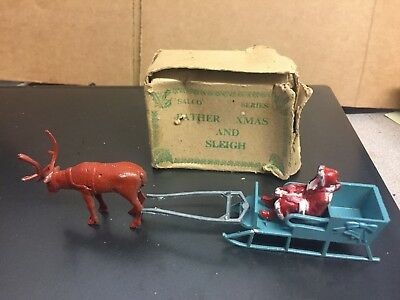 Vintage Die Cast Salco Father Xmas And Sleigh