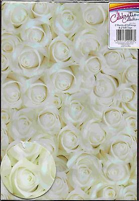 White Roses Wedding ~ Birthday 2 sheets gift wrap & 2 gift tags Wrapping Paper