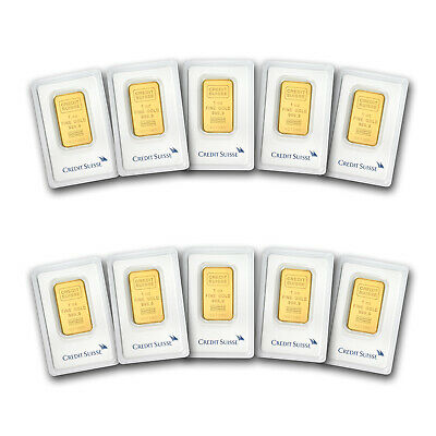 Bank Wire Payment. 1 oz Gold Bar - Credit Suisse (In Assay) Lot of 10