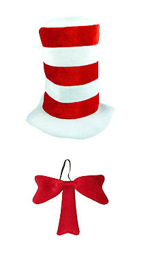 Cat in the Hat World Book Day Week Fancy Dress Costume Striped Hat & Bow Tie Set