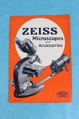 Vintage 1937 Carl Zeiss Jena Microscope Accessories Advertising Catalog Brochure