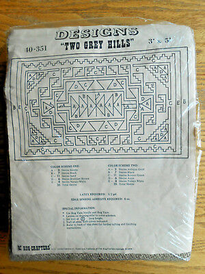RC RUG CRAFTERS TWO GREY HILLS Burlap Canvas Vintage USA Tufting Rug Making NEW