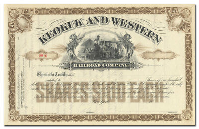 Keokuk and Western Railroad Company Stock Certificate (1880's)