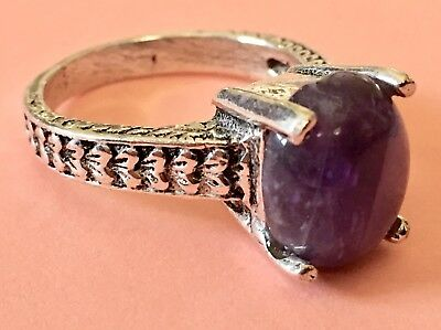 Antique Vtg Style Silver Prong Set Genuine Purple Amethyst Stone Solitaire Ring