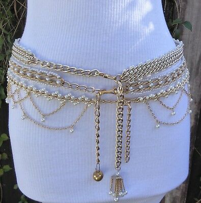 Three Different Interwoven Vtg. Gold Tone faux. Pearls Chain Belts