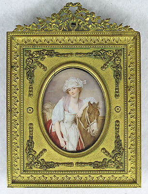 Antique French Hand Painted Miniature Portrait of a Lady with Horse 19 century