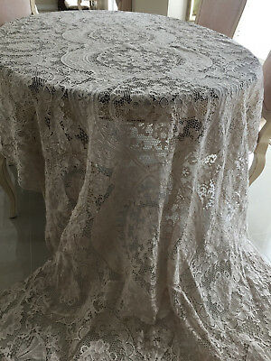 """Vintage large handmade Needle lace BANQUET TABLECLOTH 150""""x64"""""""