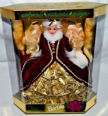 New-1996 Holiday Barbie Doll-Happy Holidays-Special Edition-Burgundy,gold & Muff