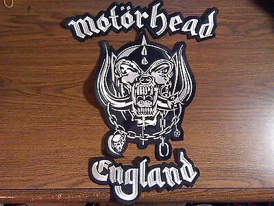 Motorhead England,sew On 3 Pieces Set White Embroidered Large Back Patch