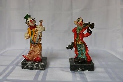 Lot Of 2 Vintage Collectible Clown Figurines On Marble Base Made In Italy.