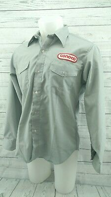 Conoco Gas Work Shirt Gray Long Sleeve Work Shirt Size Large