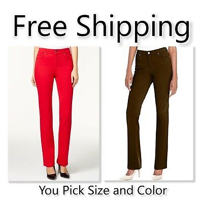 $59.50 Charter Club Lexington Tummy Slimming Straight Leg Jeans Red Brown