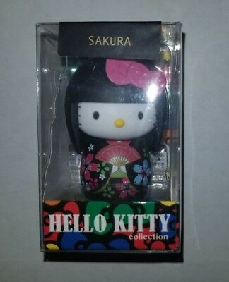 Sakura Hello Kitty Collection Japanese Wooden Kokeshi Doll Keychain New
