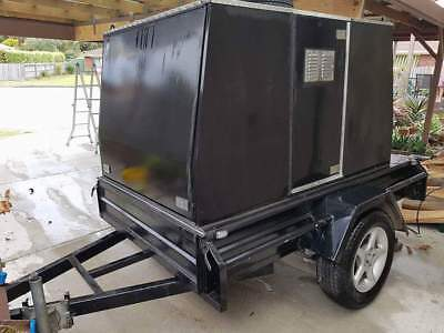 """Black 7x4 fully enclosed box """"tradies"""" trailer. Fully lockable. Fitted out."""