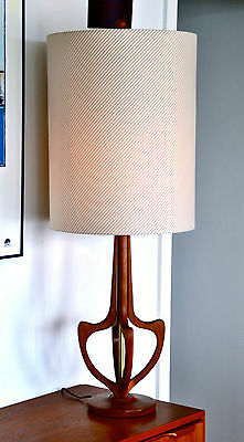 Mid Century Eames Teak Danish 'HVITLEK' Table Lamp with new bespoke shade