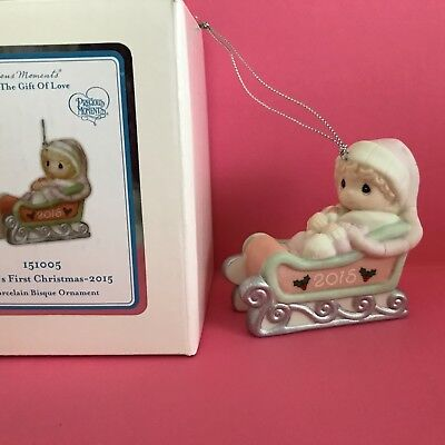 NIB Precious Moments 2015 GIRL Baby's First Christmas Ornament Annual Dated New