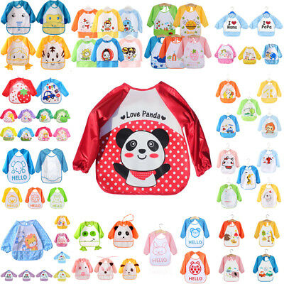 Children Baby Kids Toddler Waterproof Long Sleeve Art Smock Feeding Bib Apron