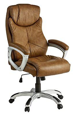 X-Rocker Leather Effect Executive Chair - Brown