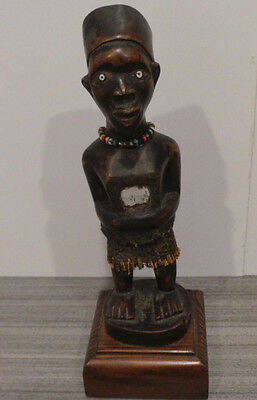 """9.75"""" Tall Congo Statue African Handcarved Wooden Stand Trade Beads Raffia Male"""