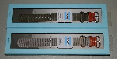 Toms for Apple Watch Band 42mm - Nylon Leather Olive Green & Gray Lot of 2