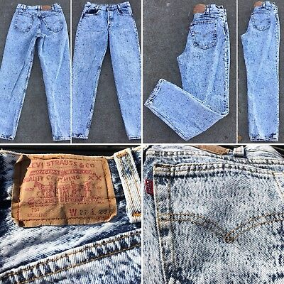 Vintage Levi's Button Fly 701 Student Jeans Acid Wash W27 L28 Made In USA