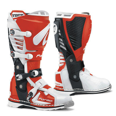 Forma Predator motocross boots, mens, red, white, all sizes, pro, motorcycle