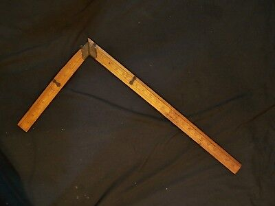 Antique Vintage Boxwood Tailor's Square Brass Rule TAYLOR Broadway NY