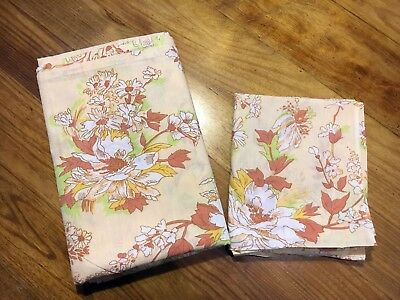 Vintage Floral Single Sheet with Pillow Case 100 % Cotton