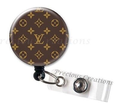 1 x LV Pattern ID Badge Reel Holder Holder Retractable RT Nurses PT OT