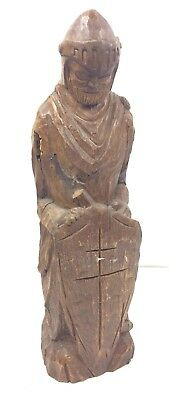 Vintage Hand Carved Wood Statue Liquor Concealer Secret Space Knight Soldier