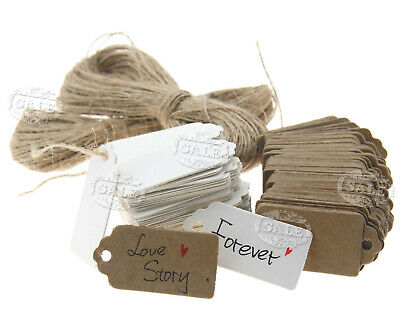 100pcs Heart Kraft Paper Hang Tags Gift Price Cards 4x2CM with 20m String