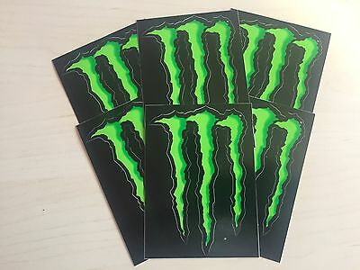 "6 x MONSTER ENERGY 4"" STICKERS GREEN CLAW 100% ORIGINAL DECAL"
