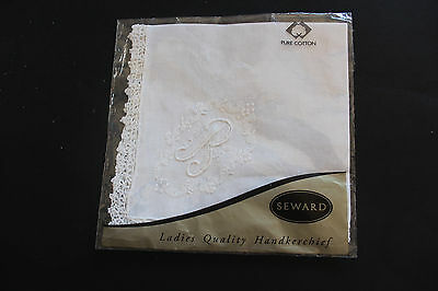 SEWARD unopened ladies white cotton handkerchief with embroidered initial B.