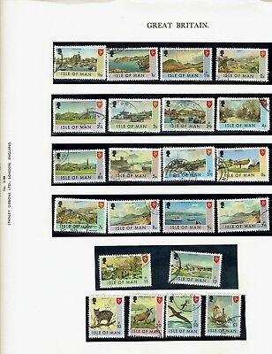 Stamps,IOM ,5 Album sheets of used stamps , please see scans Isle of Man