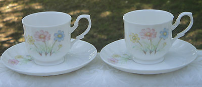 Pretty Vintage Fine Bone China Cup & Saucer Duos x 2 *Rosebery *Made in Japan