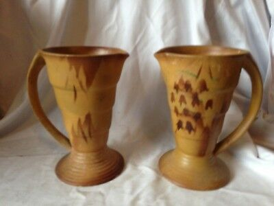 Interesting Pair Of Art Deco Handled Vases Of Period 7 Inch High