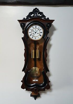 A beautiful mid 19thC Vienna wall clock  - Superb detail VG Condition