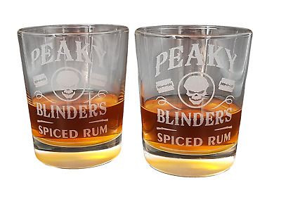 Peaky Blinders Spiced Rum Glasses X 2 Twin Stunning .5Ml Stone Cut Glass Superb