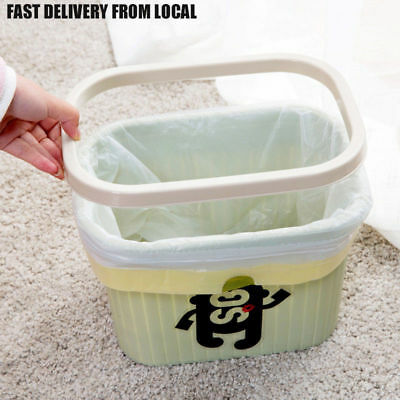 Plastic Small Trash Can 2 Gallon Garbage Waste Bin Kitchen With Ring Wastebasket