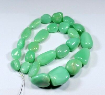 100% Natural 16 Inch Mint Chrysoprase Smooth Nuggets Shape 415 Carat.