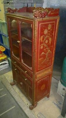chinese cabinet with Dragon feet and paintings.