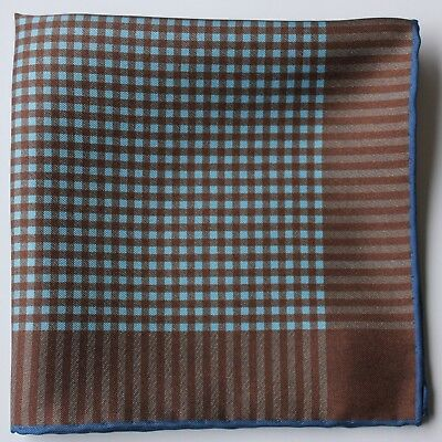 Brown & blue check Silk pocket square. Hand rolled 30cm Made in England