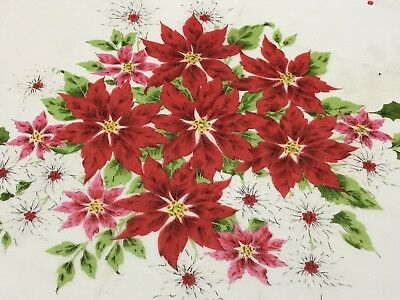 Vintage Collectible White Red Green Poinsettia Floral Christmas Hankie (RF741)